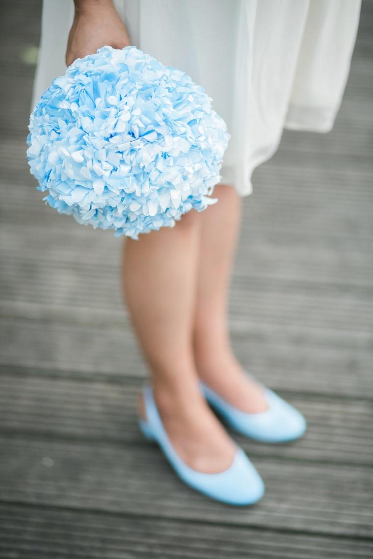 blauer brautstrauss hortensien
