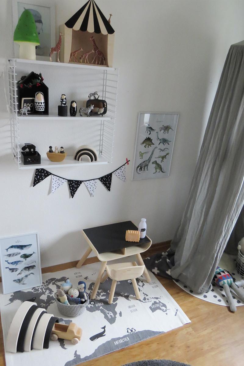 Kinderzimmer Grau und Schwarz Weiss