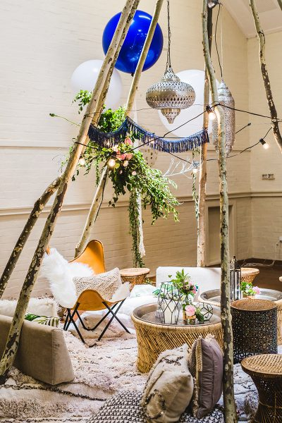 Babyparty in Blau mit Tipi